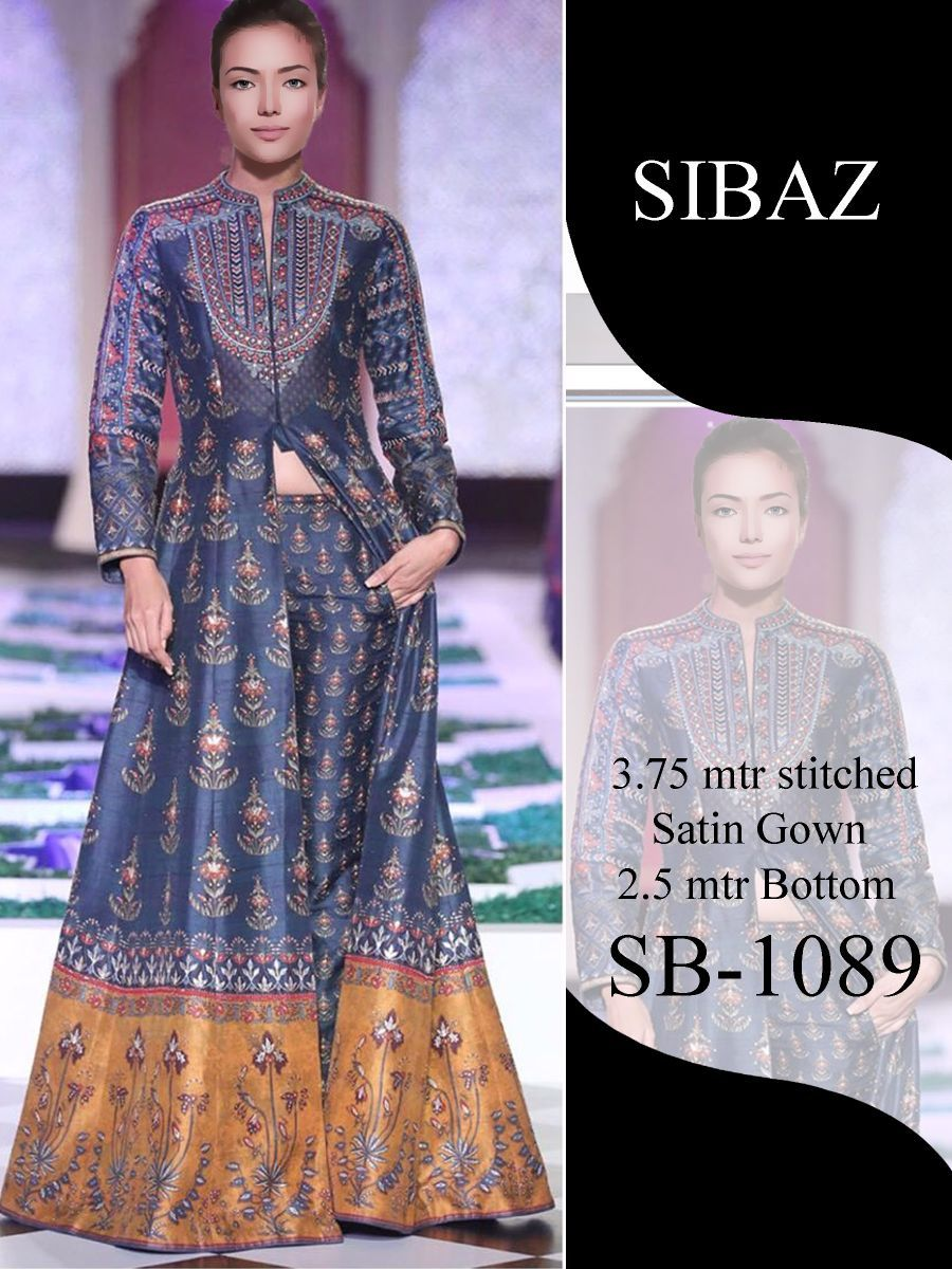 Designer Pakistani Replica Pure Satin Digital Printed Long Gown Size XL SB1089 - Ethnic's By Anvi Creations