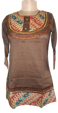 Brown Cotton Stitched Top Dress Size 40 SC501 - Ethnic's By Anvi Creations