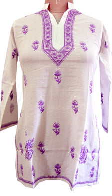 White Cotton Stitched Top dress Size 40 SC515 - Ethnic's By Anvi Creations