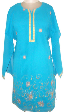 Blue Georgette with lining Semi Stitched Kurta SC526 - Ethnic's By Anvi Creations