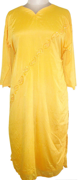 Yellow Faux Crepe Lined Stitched Kurta Dress Size 44 SC527