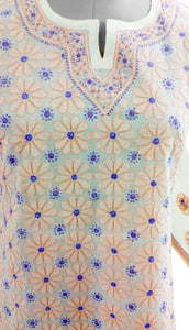 Cream Cotton Chikan work Stitched Kurta Dress Size 42 SC538 - Ethnic's By Anvi Creations