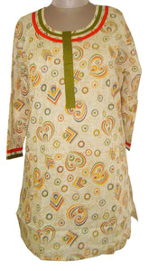 Cream Cotton Stitched Kurta Dress Size 46 SC547 - Ethnic's By Anvi Creations