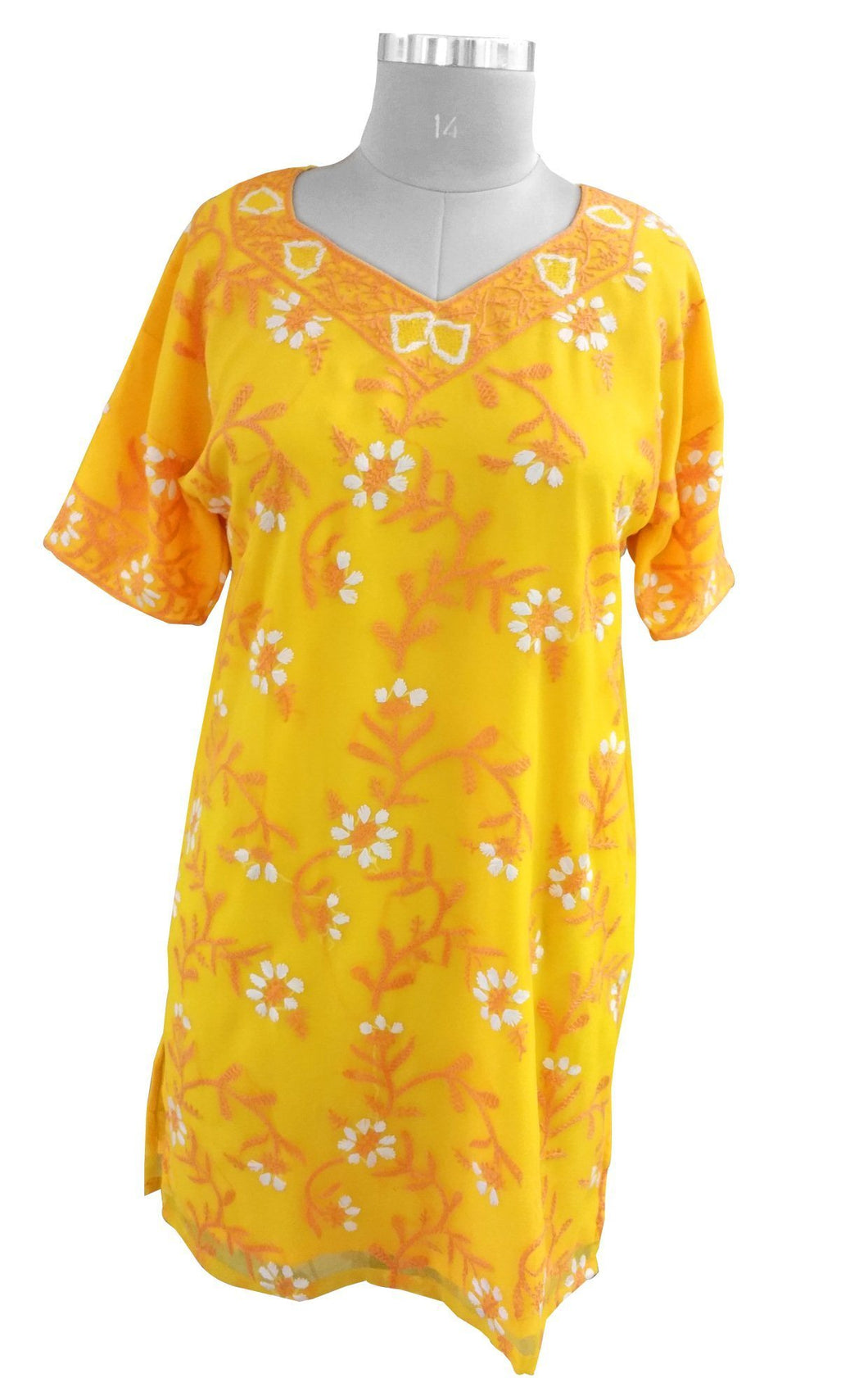 Yellow Chiffon Chikan work Stitched Kurta Dress Size 42 SC552 - Ethnic's By Anvi Creations