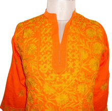 Load image into Gallery viewer, Orange Kamas Crepe Kurti Dress Size 40 SC562 - Ethnic's By Anvi Creations