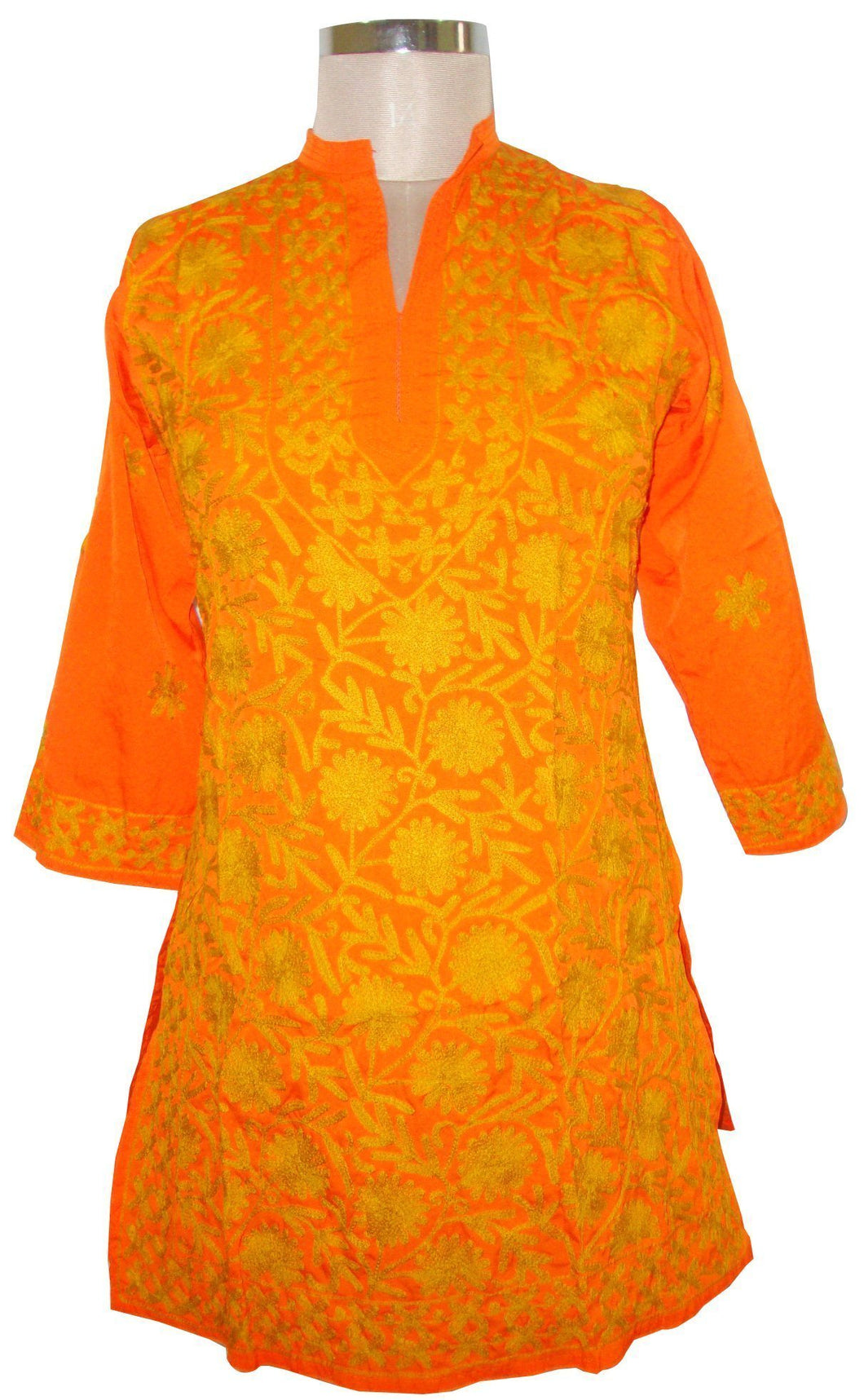 Orange Kamas Crepe Kurti Dress Size 40 SC562 - Ethnic's By Anvi Creations