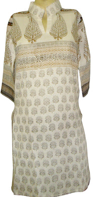 Off White cotton Stitched Kurta Dress Size 36 SC569 - Ethnic's By Anvi Creations