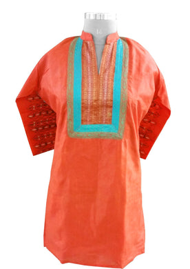 Orange Tussar silk with lined Stitched Kurta Dress Size 46 SC602 - Ethnic's By Anvi Creations
