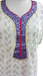 Off White Chiffon with Embroidery lining Semi-Stitched Kurta SC604 - Ethnic's By Anvi Creations