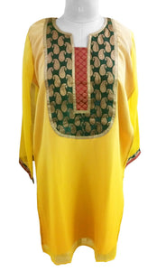 Yellow Shaded Cotton Silk With lining Stitched Kurta Dress Sioze 42 SC610 - Ethnic's By Anvi Creations