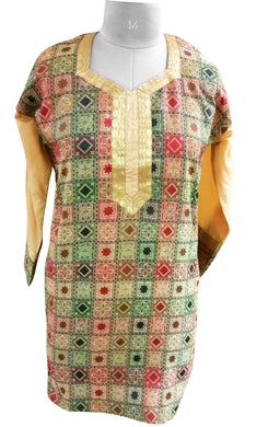 Multi Cotton Jequard weave Stitched Kurta Dress Size 42 SC611 - Ethnic's By Anvi Creations