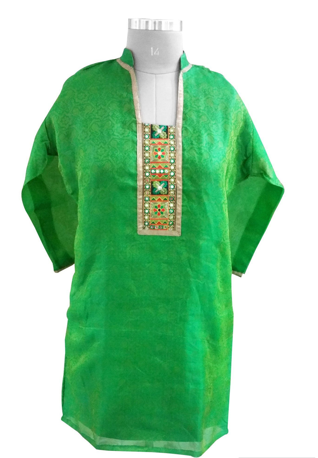 Green Chanderi with lining Stitched Kurta Dress Size 46 SC612 - Ethnic's By Anvi Creations