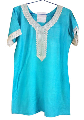 Blue Cotton Silk  Stitched Kurta Dress Size 40 SC705 - Ethnic's By Anvi Creations
