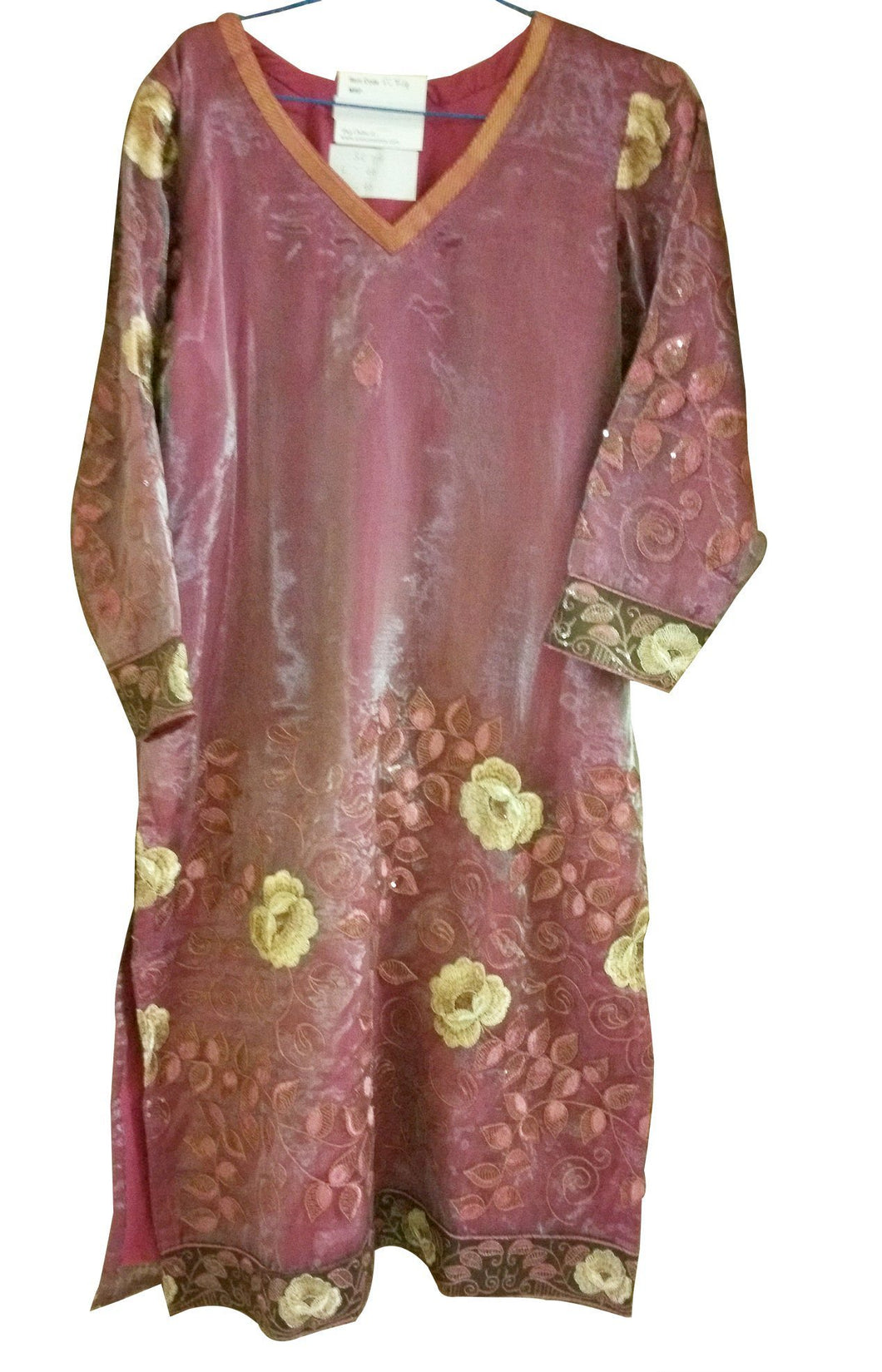 Pink Onion Tissue Stitched Kurta Dress Size 40 SC714 - Ethnic's By Anvi Creations