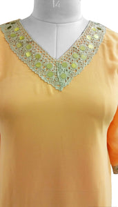 Peach Chiffon with lining Stitched Kurta Dress Size 42 SC812 - Ethnic's By Anvi Creations