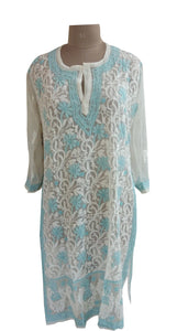 Designer Georgette Off White Chikankari Long Kurti Kurta SC904 SZ 46 - Ethnic's By Anvi Creations