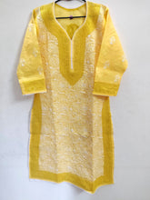 Load image into Gallery viewer, Designer Cotton Yellow Chikan Long Kurti Kurta SC911 Size 38 - Ethnic's By Anvi Creations