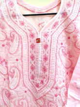Load image into Gallery viewer, Designer Cotton Pink Chikan Long Kurti Kurta SC914 Size 38 - Ethnic's By Anvi Creations