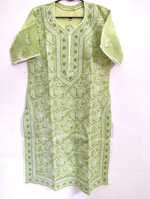 Designer Cotton Olive Green Chikan Long Kurti Kurta SC917 Size 38 - Ethnic's By Anvi Creations