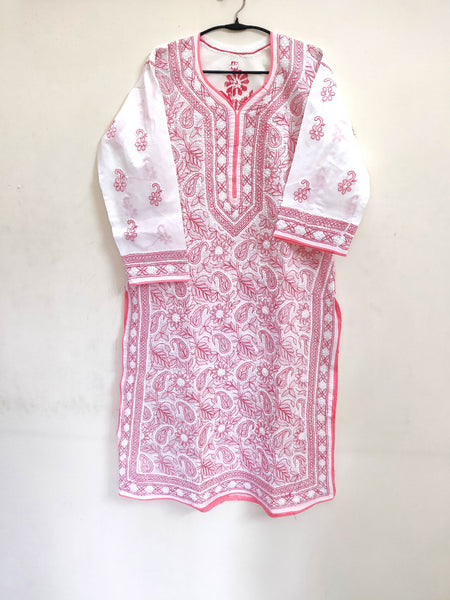 Designer Cotton White Chikan Long Kurti Kurta SC919 Size 40
