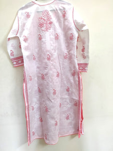 Designer Cotton White Chikan Long Kurti Kurta SC919 Size 40 - Ethnic's By Anvi Creations