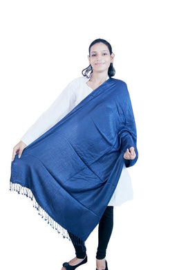Blue Plain Viscose Stole SE38 - Ethnic's By Anvi Creations