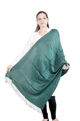 Green Plain Viscose Stole SE40 - Ethnic's By Anvi Creations