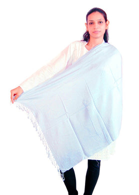 Gray Plain Viscose Stole SE48 - Ethnic's By Anvi Creations