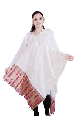 Off White Wool Chinar Embroidered Stole SE58 - Ethnic's By Anvi Creations