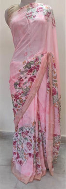 Rose Pink Floral Printed Georgette Saree with Blouse SF02