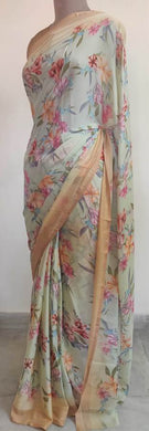 Pastel Pistachio Green Floral Printed Georgette Saree with Blouse SF03