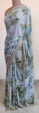 Light Blue Floral Printed Georgette Saree with Blouse SF04