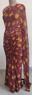 Maroon Floral Printed Chiffon Saree with Blouse SF05