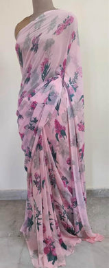 Baby Pink Floral Printed Georgette Saree with Blouse SF06