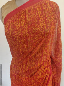 Rust Red Floral Printed Georgette Saree with Blouse SF08