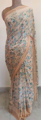 Light Peach Floral Printed Georgette Saree with Blouse SF01