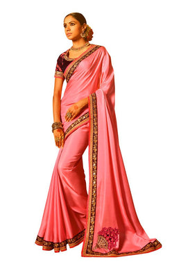 Pink Satin Saree with Embroidered Blouse Fabric SH11 - Ethnic's By Anvi Creations