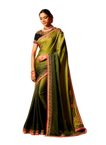 Green Satin Saree with Embroidered Blouse Fabric SH16 - Ethnic's By Anvi Creations