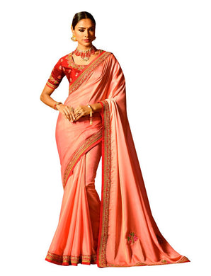 Peach Satin Saree with Embroidered Blouse Fabric SH20 - Ethnic's By Anvi Creations