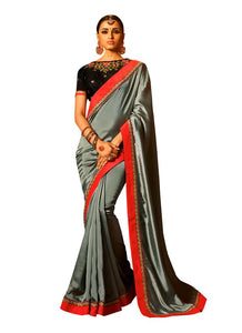 Grey Satin Saree with Embroidered Blouse Fabric SH22 - Ethnic's By Anvi Creations