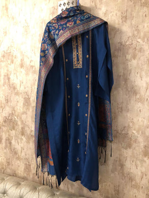 Navy Blue Embroidered Silk Dress Material with Pure Silk Jacquard Dupatta SHS02