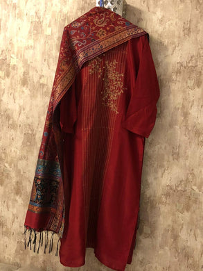 Reddish Maroon Embroidered Silk Dress Material with Pure Silk Jacquard Dupatta SHS03
