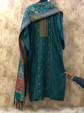 Turquoise Green Embroidered Silk Dress Material with Pure Silk Jacquard Dupatta SHS04