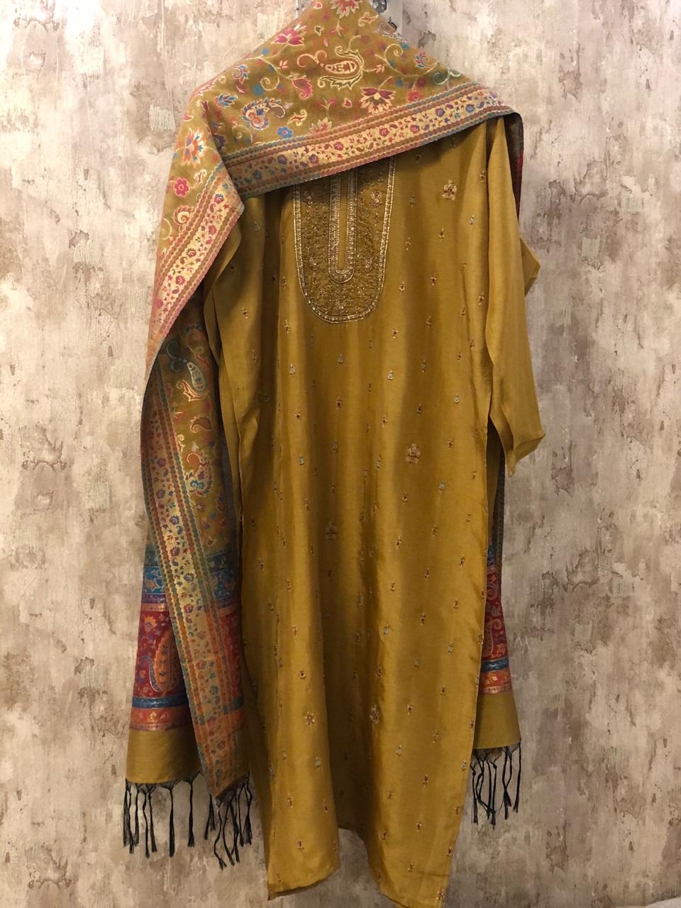 Mustard Yellow Embroidered Silk Dress Material with Pure Silk Jacquard Dupatta SHS06