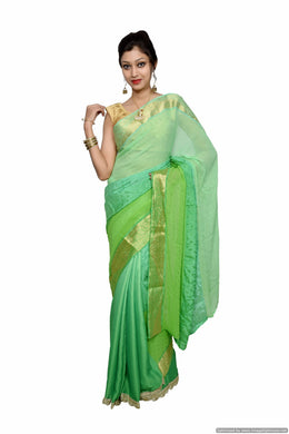 Designer Zari Border Green Silk Chiffon Saree SP06 - Ethnic's By Anvi Creations