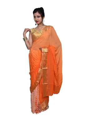 Designer Orange Silk Chiffon Zari Border Saree SP08 - Ethnic's By Anvi Creations