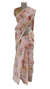 Organza Peach Floral Printed Border Embellished Saree SP19