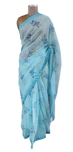 Organza Blue Floral Printed Border Embellished Saree SP20