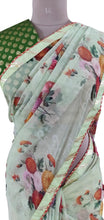 Load image into Gallery viewer, Organza Green Floral Printed Border Embellished Saree SP21