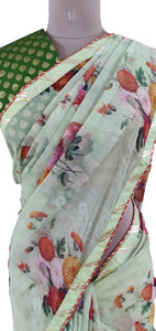 Organza Green Floral Printed Border Embellished Saree SP21
